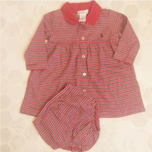 RALPH LAUREN red striped dress set